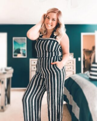 This is from the summer of 2019. In this photo I am pregnant. I had no idea until a week later when I put this outfit back on and it was a little snug in my belly.   Later on in July of that summer I miscarried while on vacation in Michigan. Going through a miscarriage is so difficult and I still remember every moment of the few days over which it occurred.   Flash forward to now and we're having a baby with only 35 days to go. This little rainbow baby is coming quickly and this jump suit doesn't quite fit as well but I sure can squeeze into it still!   I've been adding lots of little rainbow type items to the registry to remember the little one we lost a few years ago. Baby boy will be our first baby together and our third child overall. He has been a big old kicker and squirmer the last two months as his space grows smaller. He'll be here shortly but in the meantime he's giving me some extra morning sickness this week.  . . .  Outfit: Q Clothing  Filter: @pinkpapayaapp  #jumpsuit #SummerFashion #BlackAndWhiteOutfit #BlackAndWhiteStripes #OhOTD #RainbowBaby #Pregnant #8MonthsPregnant #ThingsICantWearAnymore #Miscarriage #HealingFromMiscarriage #PregnancyStories #Pregnantlife #papayacommunity